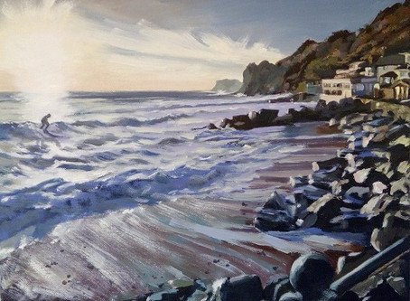 Behind The Scenes photos of my Latest painting 'Steephill Surf'