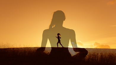 Photo of woman running and meditating.