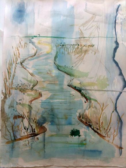 watercolor, pen 60 in x 24 in
