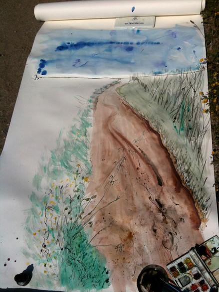 watercolor 60 in x 24 in