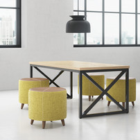 Kimball fixt tables and stools for workp