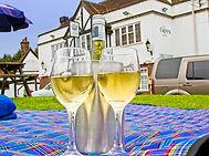 Glasses of wine on picnic blanket