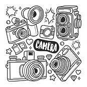 icones-appareil-photo-coloriage-doodle-d