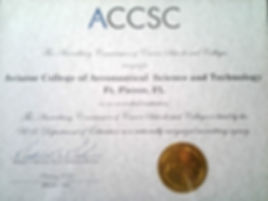 ACCSC certificate of accreditation