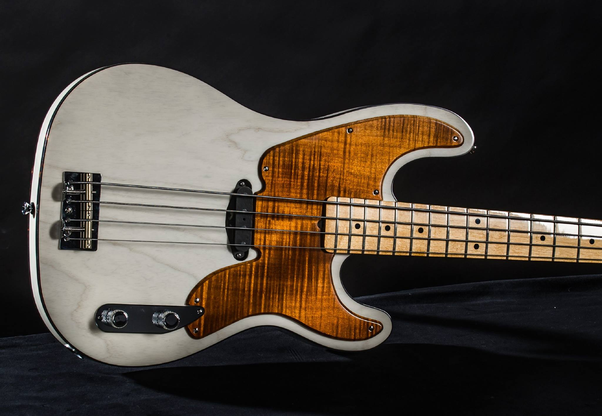 Milk White T Bass w/Flamed Pickguard