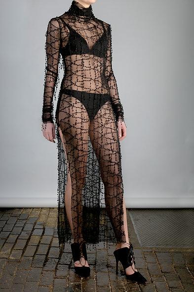 Mesh Maxi in embellished black