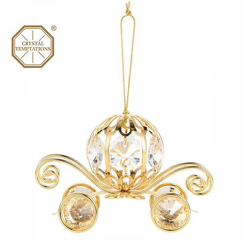 24K gold plated Coach hanging ornament with clear Swarovski crystal