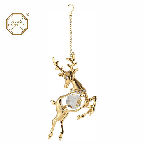 24K gold plated Reindeer hanging ornament with clear Swarovski crystal