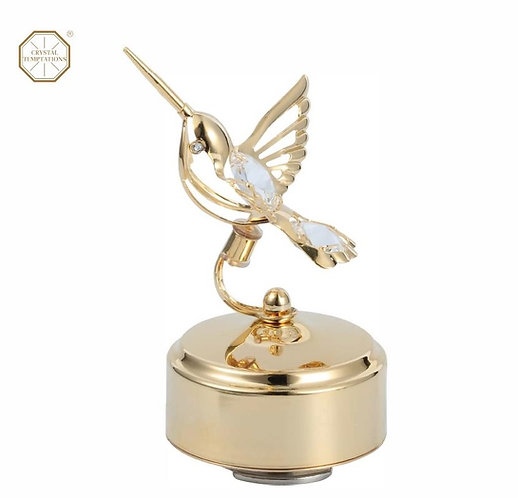 24K gold plated humming bird music box with clear Swarovski crystal