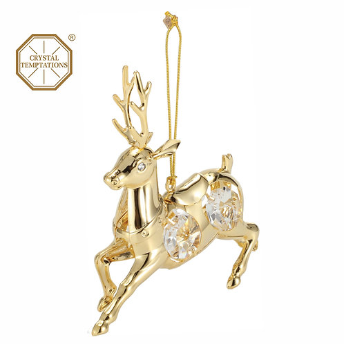 24K gold plated Deer hanging ornament with clear Swarovski crystal