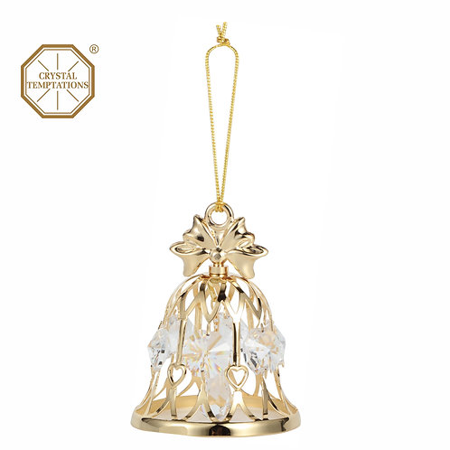 24K gold plated wedding bell hanging ornament with clear Swarovski crystal