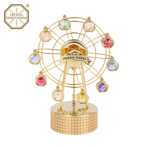 24K Gold Plated Ferris Wheel with Swarovski Crystal Music Box