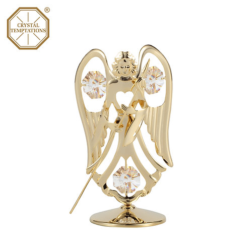 Gold plated iron Angel with Spear table decoration