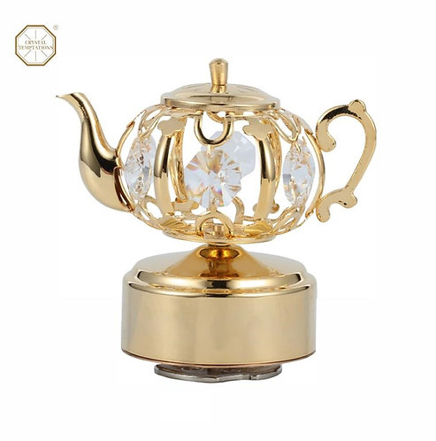 24K gold plated Tea-pot music box decorated with clear Swarovski crystal