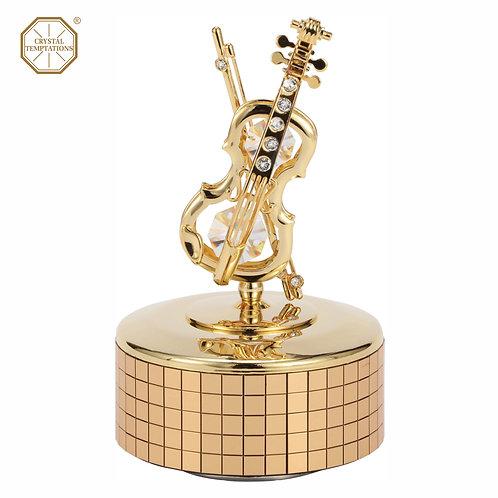 24K Gold Plated Violins with Swarovski Crystal Music Box