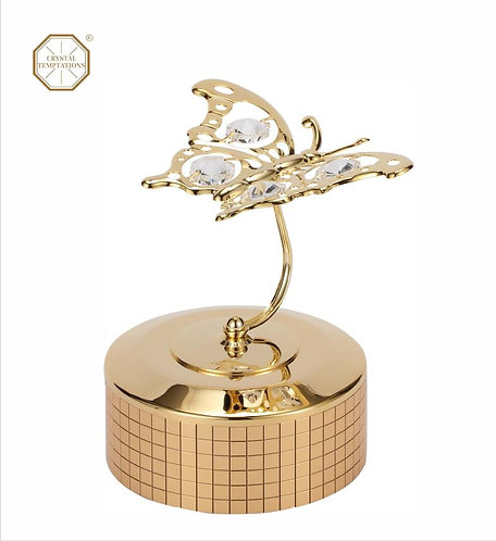 24K gold plated Angel butterfly music box with clear Swarovski crystal