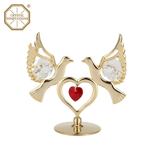 Gold plated Double Small doves iron table decoration