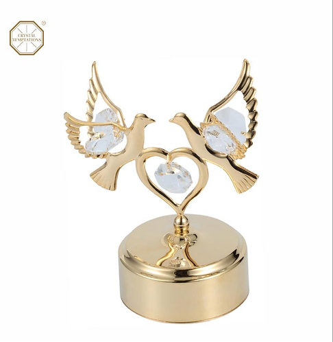 24K gold plated double dove with heart music box with clear Swarovski crystal