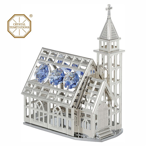 Deluxe Silver plated Church table decoration with color Swarovski Crystal