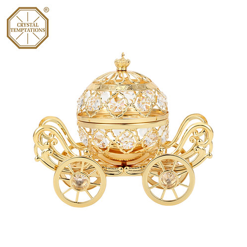 Gold plated Giant Coach with hinge iron table decoration with incense burner