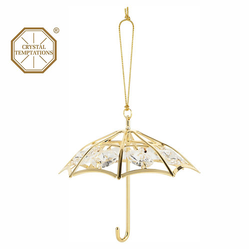 24K gold plated Umbrella hanging ornament with clear Swarovski crystal