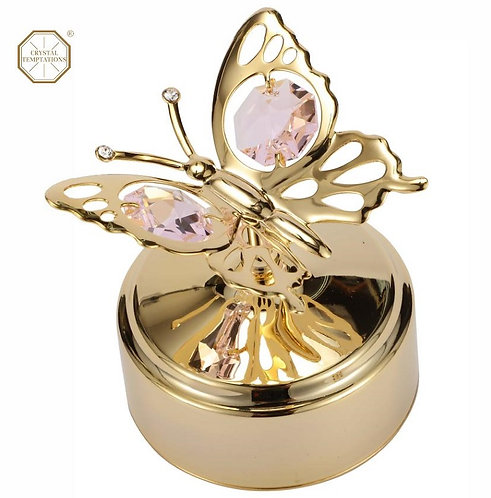 24K gold plated Butterfly music box with Rosaline Swarovski crystal
