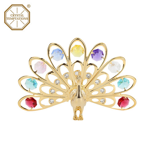 24K Gold Plated Peacock Figurine with Swarovski Colour Crystal