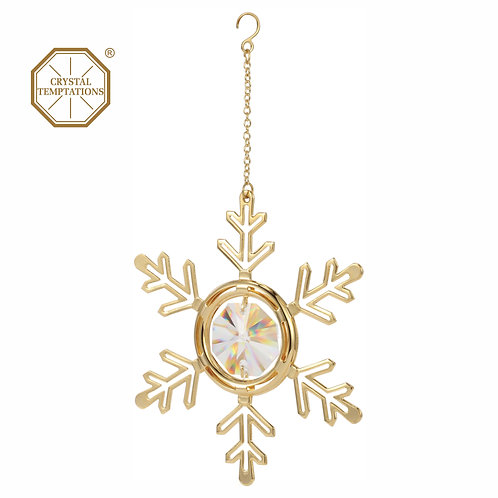 24K gold plated iron Snowflake hanging ornament with clear Swarovski crystal