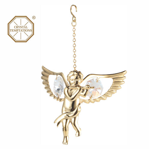 24K gold plated Angel with flute hanging ornament with clear Swarovski crystal