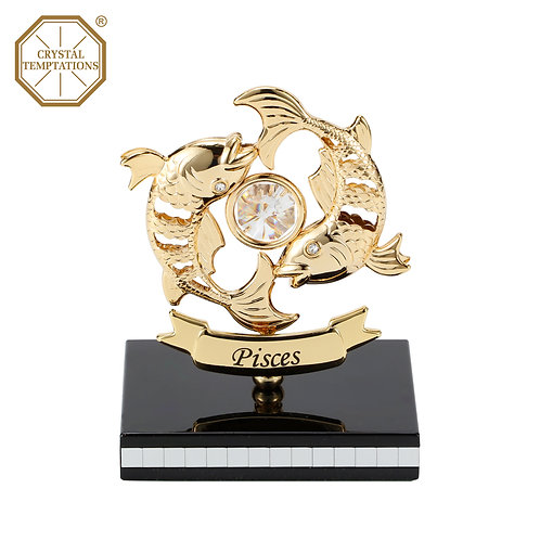 Gold plated Zodiac-Pisces iron table decoration
