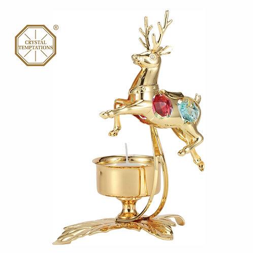 24K gold plated Deer candle holder with assorted color Swarovski crystal