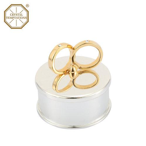 24K Gold & Silver Plated Wedding Ring Box with Swarovski Crystal