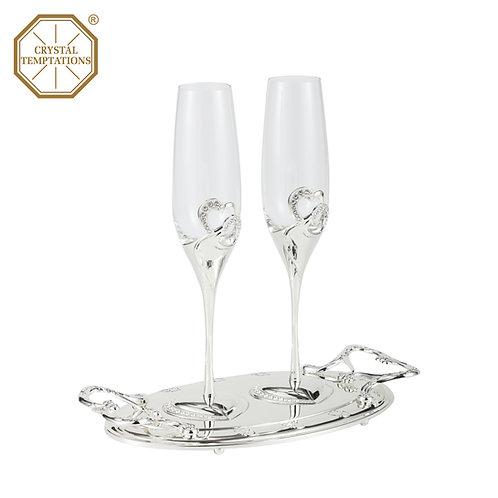 Silver Plated Celebration Wedding Champagne Glass with Swarovski Crystal
