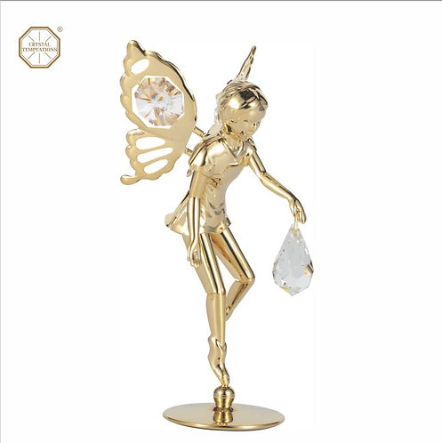 24K Gold Plated Fairy table decoration with clear Swarovski  Crystals