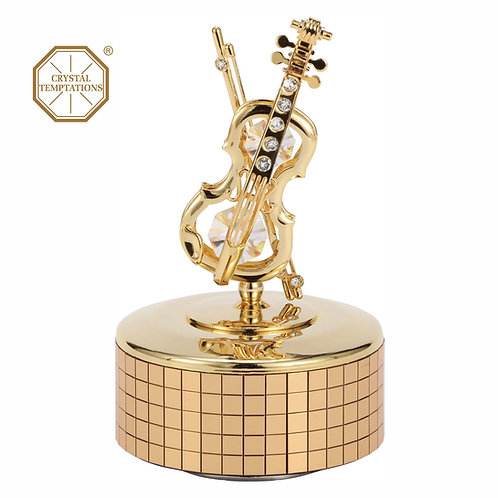 24K gold plated Violin music box with clear Swarovski crystal