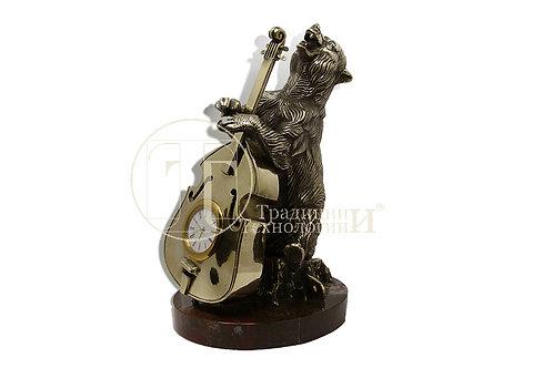 """Часы настольные """"Медведь с виолончелью"""""""