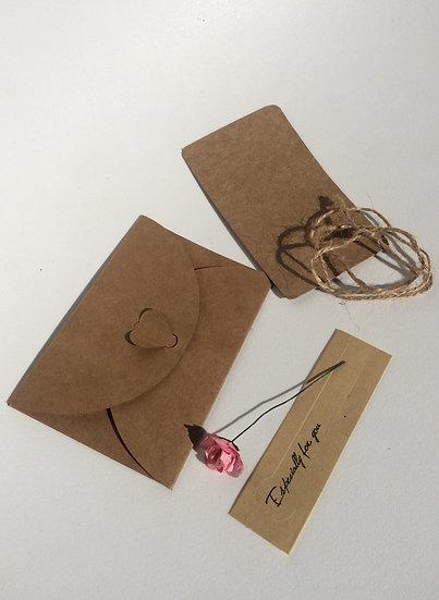 Enveloppe & Invitation fleur petite rose rose