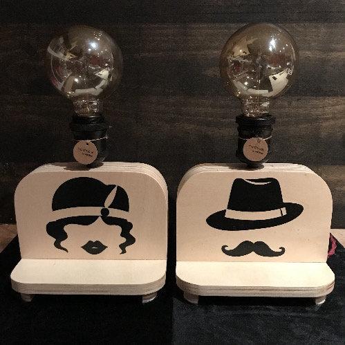 Couple de Petites Lampes Mrs & Mr à personnaliser avec les prénoms