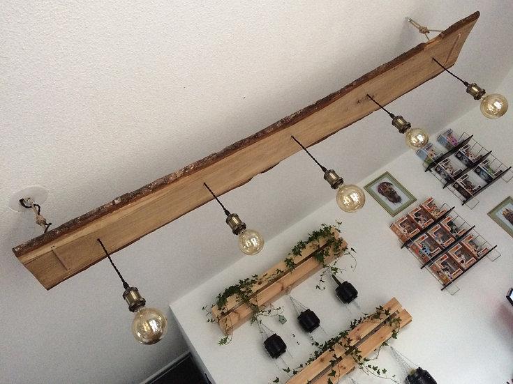 Luminaire en chêne pour 5 ampoules