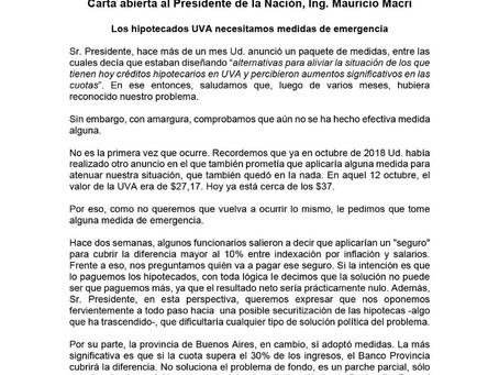 Carta abierta de los #HipotecadosUVA al Presidente Macri