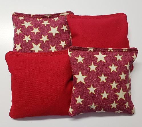 Set of 4 - Red Glitter Star