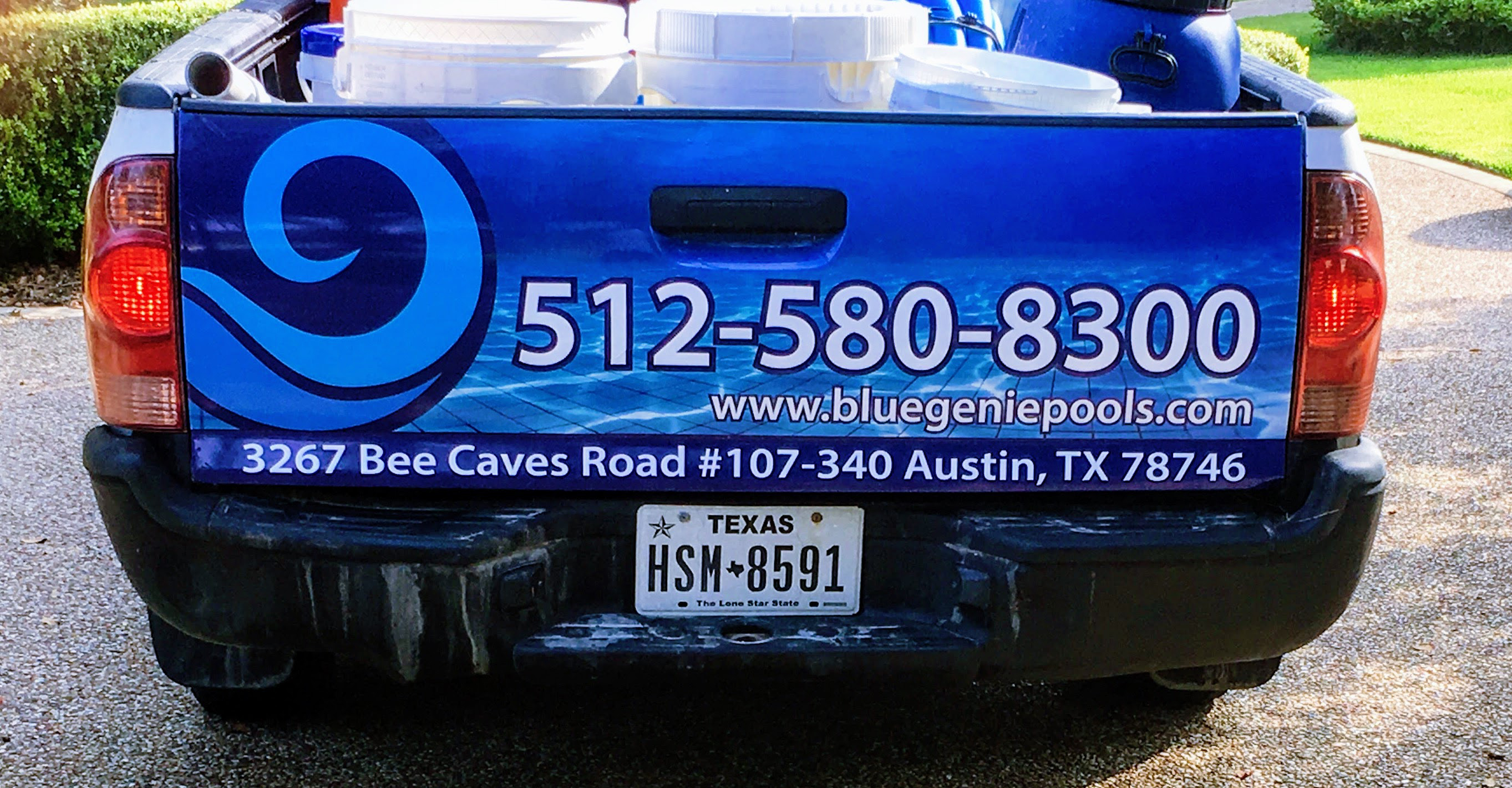 Blue Genie Pools truck decal