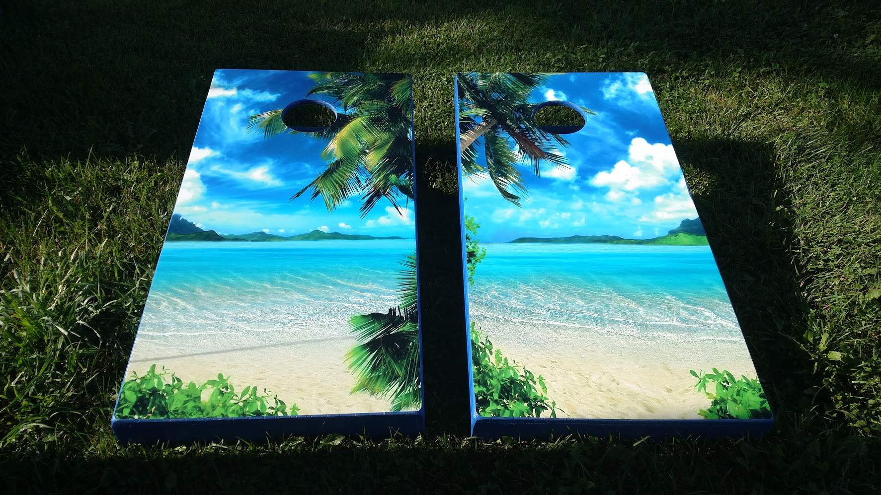 Beach Cornhole Board Wraps