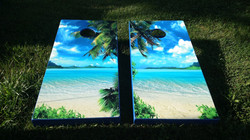 Beach Cornhole Board Wraps