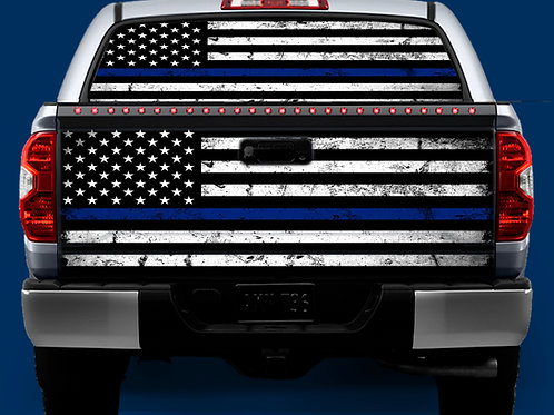 Tailgate / Window Wrap - Blue Line Flag