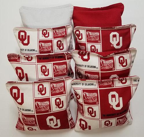 Set of 8 - Oklahoma Red & White