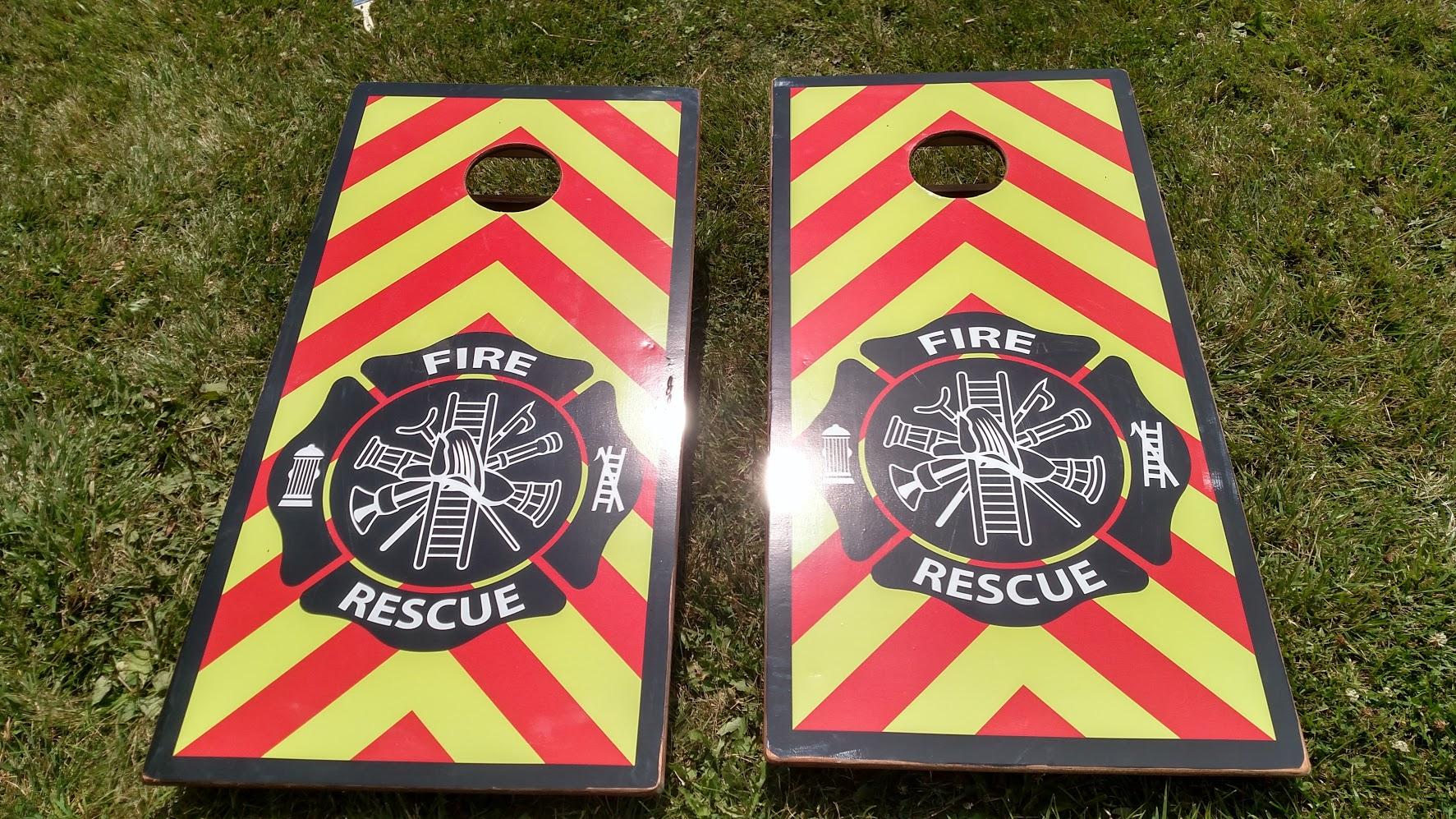 Fire House Cornhole Board Wraps