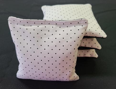 Set of 4 - Wedding White & Black Polka Dot