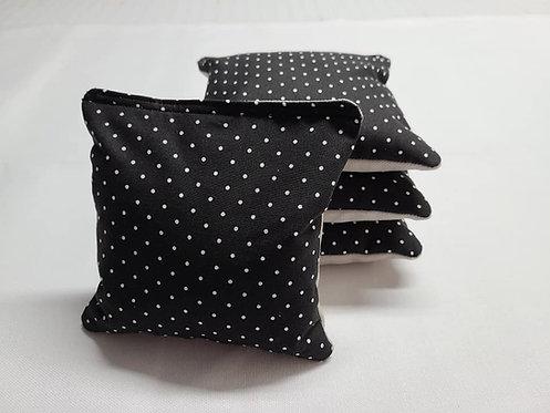 Set of 4 - Wedding black & White Polka Dot