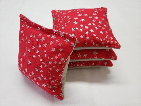 Set of 4 - Red Glitter Star & Swirls